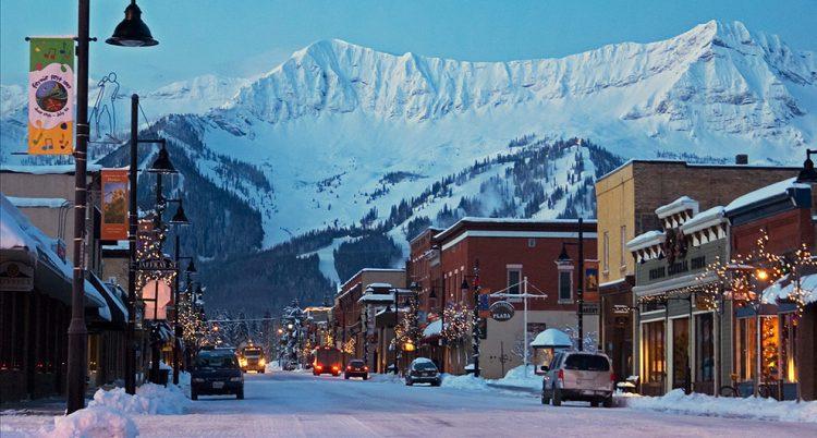 Fernie, Canada under the Christmas lights.
